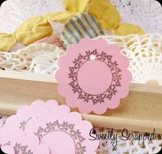 Pink and Flower Wreath Scalloped Circle Tags