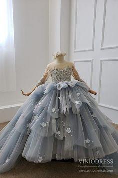 Dusty Blue Layered Ball Gown for Little Girls GL1093 – Viniodress