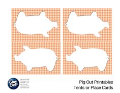 "Orange Pig Shape Printables designed by @Jessica Griffin for Glue Dots' ""Pig Out"" Summer BBQ idea guide! #GlueDots #FreePrintables #Summer #partydecor #pigs"