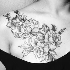 Michelle's 1st tattoo & she was so perfect. Thank you for sitting so well, you rule  ....#peony #chesttattoo #line #light #graceful