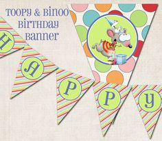 "Items similar to Toopy & Binoo Birthday Party Banner, ""Happy Birthday"", digital file, you-print on Etsy Second Birthday Ideas, 3rd Birthday Parties, Birthday Party Decorations, 2nd Birthday, Party Themes, Happy Birthday, Party Ideas, Baby Party, Holidays And Events"