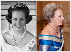 Princess Benedikte's Floral Tiara: Benedikte's present is made of diamonds set in gold and silver, and the center stone can be swapped between an emerald (shown above), a pearl, and a diamond.