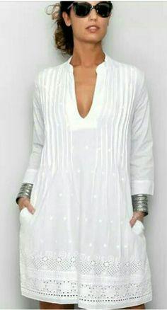 Este - #esté White Linen Dresses, Cotton Dresses, Chiffon Dress, Dress Skirt, Hippie Stil, Cool Outfits, Fashion Outfits, Mexican Dresses, Spring Fashion Trends