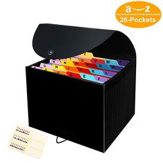 Expandable File Folder with A-Z Alphabet Labels,Accordion Desk Folders Expander Expanding File Organisers 26 Pocket,Filing Boxes Document Organiser A4 Size Portable Paper Files Documents Storage Box
