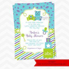 Monsters inc inspired baby shower invitation monster baby shower monsters inc baby shower invitations filmwisefo