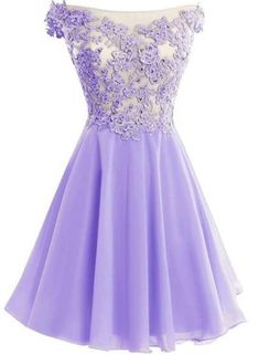 Cute Lavender Lace and Chiffon Short Party Dresses, Purple Homecoming Dresses, Off Shoulder Formal Dresses Cute Homecoming Dresses, Hoco Dresses, Dance Dresses, Pretty Dresses, Beautiful Dresses, Formal Dresses, Bridal Dresses, Prom Gowns, Chiffon Dresses
