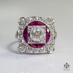 Antique Art Deco Platinum 1.91ctw. Diamond & Ruby Ring (hva)
