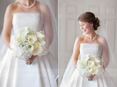 Just wow! White and cream flowers, pearl jewellery and Pronovias dress is timeless and elegant : Mirror Imaging Photography: Laura & Nick's Stamford & Lincs Wedding