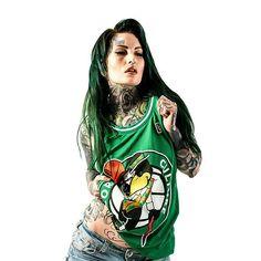 """Corvid Celtics"" Mesh Basketball Tank Top available at www.crmc-clothing.co.uk | WE SHIP WORLDWIDE... Model - @lusylogan Photography by @jt14photography #tattooedbeauty #tattooedwomen #girlswithtattoos #tattooedmodels #tattooedmodel #tattooedchicks #lusylogan #love #beautiful #tattooartist #greenhair #tattoos #tattooed #nba #basketball #bostonceltics #altmodel #instafashion #altchick #alternative #alternativegirl #alternativeboy #alternativeteen #cute #sweetheart #babe #green #tanktop…"