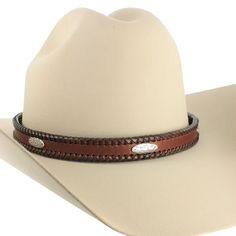"M&F 3/4"" Leather Braided Stitching and Concho Hat Band"