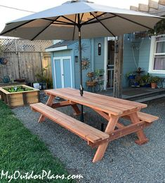 DIY 8 ft Picnic Table with Benches | MyOutdoorPlans | Free Woodworking Plans and Projects, DIY Shed, Wooden Playhouse, Pergola, Bbq Wooden Picnic Tables, Picnic Table Plans, Outdoor Tables, Outdoor Decor, Outdoor Wood Projects, Wooden Playhouse, Diy Shed, Easy Projects, Play Houses