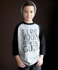 Heather Gray & Black 'I Love Your Stinking Guts' Raglan - Kids