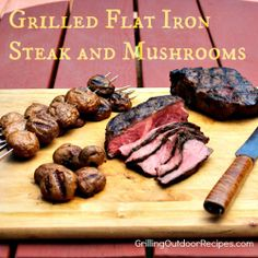 Marinated and Grilled Flat Iron Steak and Mushrooms. Cooked in skillet over stove. :) S Rod Grilling Recipes, Raw Food Recipes, Grandma's Recipes, Cooking Recipes, Steak Recipes, Gourmet Recipes, Recipies, Steak And Mushrooms, Stuffed Mushrooms