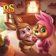 Max and Bert in adorable Easter Bunny costumes! <3 #royalstorygame #royaleaster