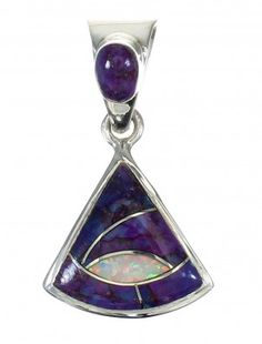 Genuine Sterling Silver Opal And Magenta Turquoise Pendant MX62502