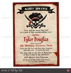 pirate invitations wording | Pirate Invitation - Customizable wordings and texts - Print your own ...