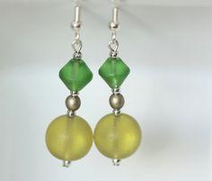 Beaded Dangle Earrings Yellow and Green Bead Earrings by ScoSiCa, $14.25