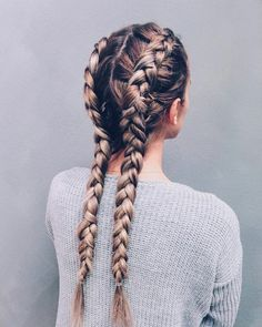Separate your hair into two parts; then create two dutch braids right to the bot. Hairstyles, Separate your hair into two parts; then create two dutch braids right to the bottom. It's a great hairstyle and a major plus is you don't have to . Two Dutch Braids, Side Braids, Pigtail Braids, Dutch Hair, Fishtail Plaits, Long Braids, Braided Updo, 2 Braids, Braids For Medium Hair