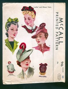 1942 McCall Pattern - Ladies' Hats in Various Styles