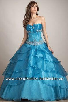 Exklusives Abendkleid Ballkleid in Hell Blau