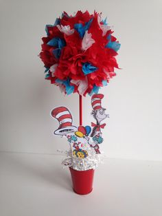 Dr Seuss birthday party, decoration, centerpiece, decorations, Centerpieces, cat in the hat by AlishaKayDesigns on Etsy https://www.etsy.com/listing/174828864/dr-seuss-birthday-party-decoration