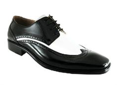 At Tuxedos Online you can purchase our New Two Tone Black and White classic Men's shoe with smooth material with wingtip detailing for only $39.99