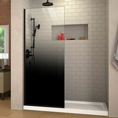 DreamLine Linea Ombre to W Frameless Fixed Satin Black Shower Door at Lowe's. The DreamLine Linea Ombre is a single panel, walk-in shower screen, with a unique patented bold gradient design, adding sophistication and extravagance to Frameless Shower Doors, Glass Shower Doors, Frosted Shower Doors, Glass Door, Walk In Shower Screens, Home Depot, Douche Design, Black Shower, Walk In Shower Designs