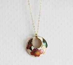 Cloisonne Necklace Cloisonne Pendant Vintage Enamel by madebymoe