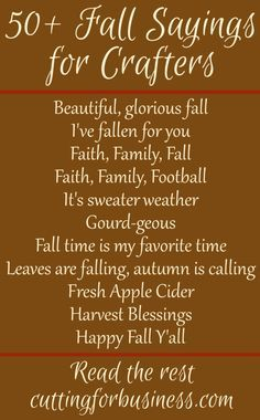 50+ Fall Sayings for Crafters - Perfect for Your Silhouette Cameo or Cricut…