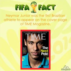 The Brazilian forward footballer #NeymarJr was the first athlete to appear on the cover page of the long running #TIME magazine March 2013 issue.