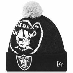 Men's New Era Oakland Raiders Woven Biggie Knit Hat One Size Fits All by New Era. $19.99. Knit hat. NFL® team logo displayed on cuff; larger logo on crownPom on top. Officially licensed Made in China. 100% acrylic. You'll be teeming with football pride when you wear the men's New Era® Biggie knit hat to the next game! It features your NFL® squad's logo on the cuff, while a larger logo is showcased on the crown. A pom on top completes the spirited look.
