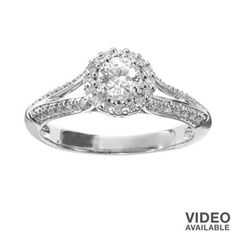 Simply Vera Vera Wang Diamond Halo Engagement Ring in 14k White Gold (1/2-ct. T.W.)