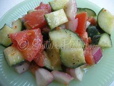 Fast Italian Cucumber Salad. Marinated in store-bought balsamic vinaigrette.