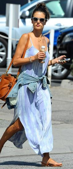 Celebrity Style: Alessandra Ambrosio running errands in Brentwood in a Gypsy 05 Freya Bamboo U-Maxi Dress. Her bag is the Chloe Marcie Large Shoulder Bag http://www.shopstyle.com/action/apiVisitRetailer?id=400531244&pid=uid7729-3100527-84&utm_medium=widget&utm_source=Individual+Product+Widget