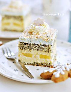 "Poppy cake ""Gwiazdka"" with coconut and pineapple - RECIPE - MC Baking Recipes, Cake Recipes, Dessert Recipes, Food Cakes, Sweets Cake, Cupcake Cakes, Poppy Cake, Pineapple Recipes, Polish Recipes"