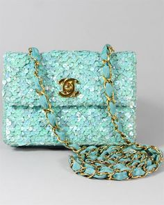 Chanel Blue Iridescent Sequin Flap Bag