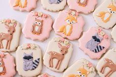 I loved making this set of Woodland animal cookies! Baby Cookies, Baby Shower Cookies, Iced Cookies, Birthday Cookies, Royal Icing Cookies, Sugar Cookies, Woodland Animals, Woodland Theme, Forest Animals