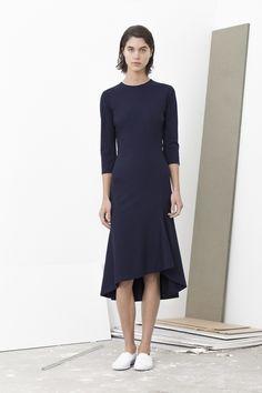 Perkins long sleeve flair dress with side kick panel