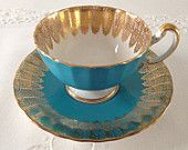 Turquoise Oban Aynsley China Tea Cup & Saucer