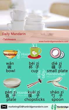Hanbridge Mandarin Daily Chinese vocabulary-- Tableware