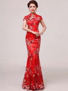 Red Sequined Ankle-length Mermaid Chinese Qipao / Cheongsam Wedding