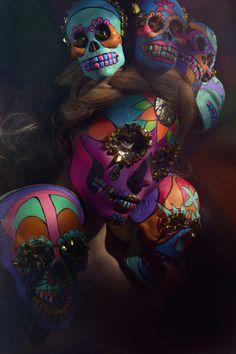 Sugar Skulls by Saara Sarvas, via Behance, dia de los muertos, calacas Sugar Scull, Sugar Skull Art, Sugar Sugar, Skull Painting, Body Painting, Mime Face Paint, Sugar Skull Costume, Sugar Skull Design, Halloween Party Costumes