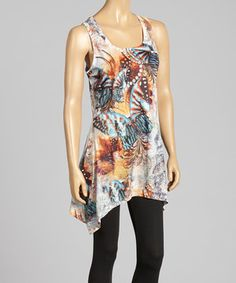 Love this Peach Butterfly Sidetail Linen-Blend Tank by Pretty Angel on #zulily! #zulilyfinds