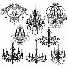 Araña de luces de París Svg cortado diseños por CuttableSVG en Etsy