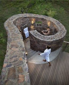 An outdoor shower might be nice, doesn't have to be this expensive. Nice for hot days when you are working outside and you just want a quick rinse off. Also for before going in outdoor pool. Outdoor Baths, Outdoor Bathrooms, Outdoor Showers, Outdoor Bedroom, Outdoor Toilet, Jacuzzi Outdoor, Outside Showers, Outdoor Sinks, Dream Bathrooms