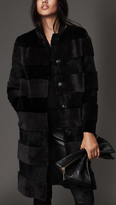 Black/charcoal Shearling and Fur Striped Coat - Image 1