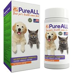 All-in-One Dog & Cat Probiotics Hip Joint Pain Relief Formula Vitamins Digestive Enzymes Antioxidants Minerals Glucosamine MSM Chondroitin 100 Servings 37 Years Reputation - SIMIEN PureAll Probiotics For Dogs, Dog Vitamins, Cat Nutrition, Kittens And Puppies, Pug Puppies, Cat Health, Pain Relief, Arthritis Relief, Vitamin E