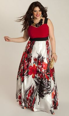 Curvy Woman Red White and Black Maxi Dress With Satin Skirt