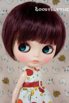 12 GoodyBlythe Doll Hair Wig for Blythe Red Highlight by blythism, $16,99