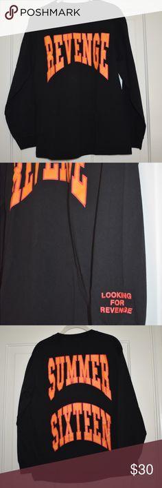 Drake tour shirt. Revenge, Summer Sixteen. Black with orange writing. Bought from Drake Summer Sixteen tour concert. Tops Tees - Long Sleeve